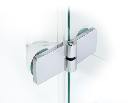TOPLIFT Beschlag Glas-Glas 135° (Ansicht außen, teilgeöffnet, flächenbündig)